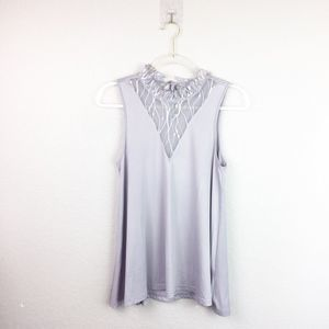BNWT! • ZEAGOO • Gray Top w/ Lace Neck